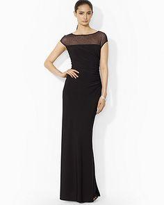 Lauren Ralph Lauren Gown - Illusion Neck Matte Jersey Bloomingdale's