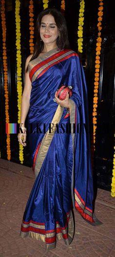 http://www.kalkifashion.com/   Neelam Roy in a blue saree at Ekta Kapoor Diwali Bash.