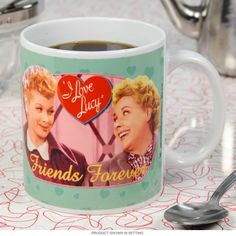 Celebrate a Forever Friend by giving them a Lucy and Ethel Coffee Mug. The I Love Lucy coffee cup holds 11 oz. Hand washing recommended.