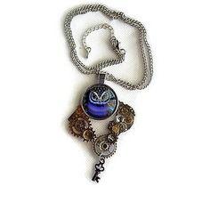 Collier  steampunk   chouette violette sur chaîne  maillons métal argenté