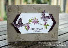 Stampin Up Butterfly Wishes Distinktive stamp set from 2019 Annual Catalogue. Birthday card by Claire Daly, Stampin Up! Demonstrator Melbourne Australia.