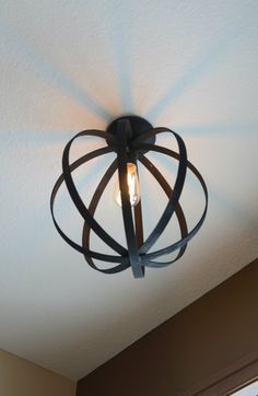 Light fixture made from embroidery hoops from The Vintage Estate