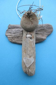 Driftwood and Pebble Angel Wall Hanging or Window by ShoreThingsNE, £4.99