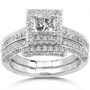 2 Carat Halo Diamond Bridal Set for Her In 14k White Gold $1,819.99