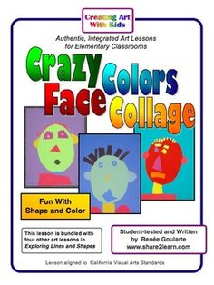 Crazy Colors Face Collage - fun with shapes and color!