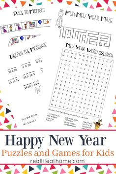 Looking for New Year's activities for kids? This free New Year's Games and Puzzles Printables Packet includes lots of fun activities and games for kids.