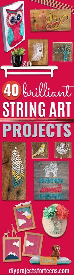 DIY String Art Projects - http://diyprojectsforteens.com/diy-string-art-projects