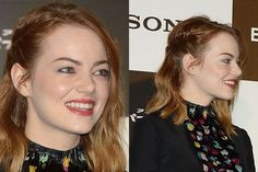 Emma Stone The Amazing Spider-Man 2 red carpet beauty look: side fishtail braid with rosy lipstick   allure.com