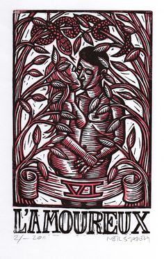 Lovers Tarot Linoleum Block Print. $25.00, via Etsy.