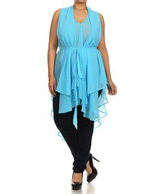 Look what I found on #zulily! Blue Sheer Handkerchief Top - Plus by C.O.C. #zulilyfinds