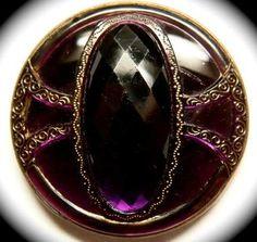 Antique Button Stunning Large Purple Glass Set in Metal | eBay