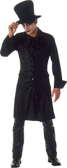 Disfraz mago gótico hombre Halloween: Este disfraz de mago gótico para hombre está formado por una chaqueta y un sombrero (pantalón, maquillaje y zapatos no incluidos).La chaqueta es de color negro satinado y...