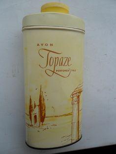 AVON TOPAZE VINTAGE PERFUMED TALC BOTTLE TIN PERFUME 1960'S 1970'S