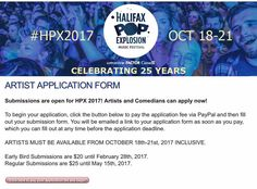Interested in performing at HPX2017 / @halifaxpopx ? . SUBMISSIONS ARE NOW OPEN! . We're happy to announce that we are now accepting applications for HPX2017! Please share with all bands comedians and artists you would like to see perform at this year's festival. . Early bird submissions close February 28 2017. . Regular submissions close May 15 2017.