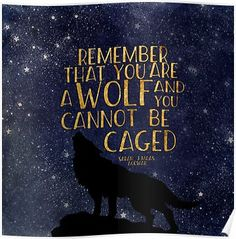'Remember that you are a wolf and you cannot be caged' Poster by dorothyreads ACOWAR quote by Sarah J Maas Moon Quotes, Wall Quotes, Words Quotes, Ya Book Quotes, Sayings, A Court Of Wings And Ruin, A Court Of Mist And Fury, Sarah J Mass, Sarah J Maas Books