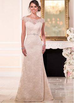 comprar Encaje Elegante Bateau escote cintura natural Vestido de novia vaina de descuento en Magbridal.com