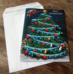 Die spielbare WEIHNACHTSKARTE  = Karte + Brettspiel in Einem! Wer schafft es als Erster, die Spitze des Weihnachtsbaumes zu erklimmen? Das Spiel macht der ganzen Familie Spaß, geeignet für Kinder ab 5 Jahren.