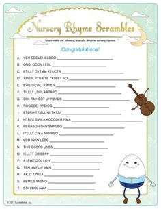 Nursery Rhyme Baby Shower Host Fun Gender