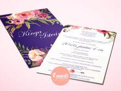 Élénk, virágos esküvői meghívó   Vibrant floral wedding invitation Floral Wedding Invitations, Wedding Invitation Cards, Wedding Invitations