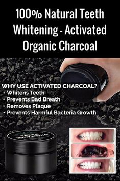 100% Natural Teeth Whitening - Activated Organic Charcoal. #homegoods