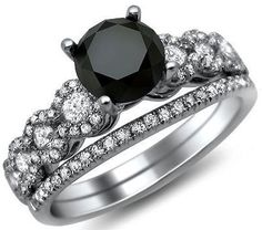 1.86 CT black round diamond engagement ring bridal set 18K white gold | $1599 | Front Jewelers