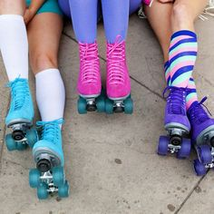 Sure Grip Skate Co. Stunning, bright Boardwalk Skates in Pink, Purple and Blue. Disco Roller Skating, Roller Derby, Retro Pictures, Skate Party, Hockey Girls, Skater Girls, Sports Shops, Skates, Hunter Boots