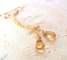Yellow Earrings Citrin Earrings Champaign Earrings by QuietRobin, $29.00