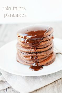 dessert for breakfast   thin mint pancakes