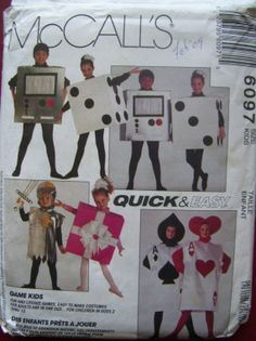 McCalls 6097 - uncut - childrens card and dice costume - Size 8 -10 -12