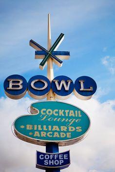Surf Bowl Vintage Neon Bowling Alley Sign - Oceanside California