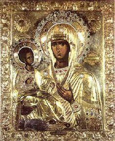 Three-Handed Mother of God, Hilandar Monastery, Mt. Athos, Macedonia, Greece. | St. John of Damascus is said  Historical records indicate the icon originated in Skopje, Macedonia, and moved to Hilandar just before the Turks conquered Skopje in 1392. The present icon dates from the 1700s.