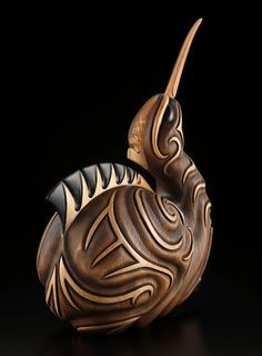 Kiwi by Kerry Kapua Thompson, Māori artist Medium: kauri, bone (cattle) Size: . - Kiwi by Kerry Kapua Thompson, Māori artist Medium: fir, bone (cattle) Size: 10 × 7 × 3 inches - Art Sculpture, Animal Sculptures, Metal Sculptures, Abstract Sculpture, Bronze Sculpture, Deco Fruit, Maori Designs, New Zealand Art, Nz Art
