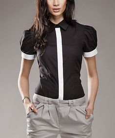 Look at this NIFE Black & White Contrast Button-Up on #zulily today!