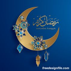 Ramadan background with moon star decorative vector 06