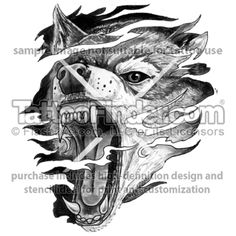 TattooFinder.com: Anger Wolf tattoo design by Ray Reasoner, wolf, snarling, growling, tribal, black and gray