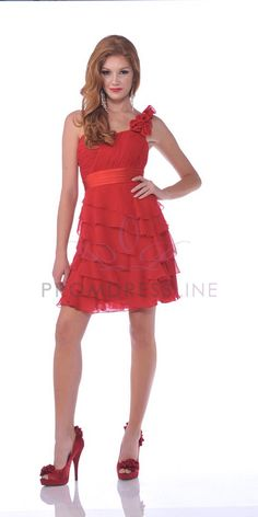 This one says it comes in fuchsia~ I just can't find a picture of it! Red Chiffon One Shoulder Sweetheart  multiple Layered Short Bridesmaid Dress - S1354 S1354-RD $94.00 on www.GirlsDressLine.Com