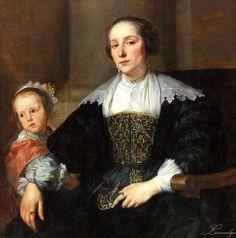 Anthony van Dyck (1599-1641), Wife and Daughter of Colyn de Nole, oil on wood, 123 x 91 cm, detail. Anna Van Thielen und ihre Tochter Anna Maria