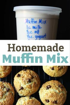 This easy, homemade muffin mix recipe allows you to make big, bakery-style muffins that can be flavored any way you like. Make several batches of mix and bake all kinds of muffins! Homemade Muffin Mix, Simple Muffin Recipe, Homemade Muffins, Best Breakfast Recipes, Homemade Breakfast, Easy Baking Recipes, Favorite Recipes, Eat, Bakery