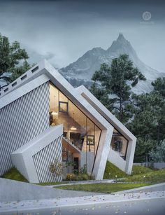 Mountains Inspired Concrete 'Pentahouse' by Wamhouse Studio