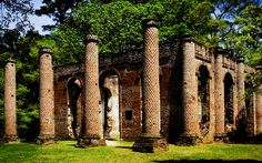Old Sheldon Church Ruins, Yemassee, South Carolina. Built in 1750, burned by the British in 1779, rebuilt in 1826, and burned again by Northern troops in 1865.