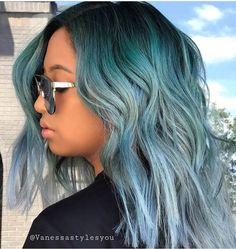 pastel blue hair color by @vanessastylesyou #pulpriothair