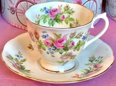 Pretty In Pink-Royal Albert Moss Rose Teacup and Saucer