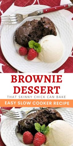Slow Cooker Brownie Dessert - A delectable, super fudgy chocolate treat made in a slow cooker! No muss, no fuss, just sheer deliciousness! #browniedessert #slowcookerbrownies #crockpotdessert #chocolate #fudgy #thatskinnychickcanbake Crock Pot Desserts, Slow Cooker Desserts, Cooker Recipes, Crockpot Recipes, Dessert Recipes, Brownie Desserts, Brownie Recipes, Cooking Chocolate, Chocolate Recipes