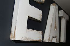 DIY distressed cardboard letters from hobby lobby