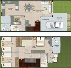 Plano de casa con terreno de 6 mts de frente X 20 de fondo