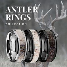 Mens Wedding Bands Antler, Deer Wedding, Wedding Men, Wedding Ring Bands, Hunting Wedding Rings, Wedding Ideas, Deer Antler Ring, Rings For Men, Gold Rolex