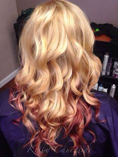 blonde hair with red peekaboo highlights