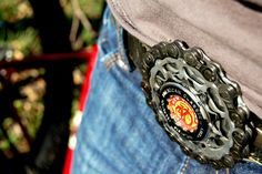 My coworker's sweet new belt buckle made out of recycled bike chains and a New Belgium bottle cap.   Get yours at http://www.recycledartwerks.etsy.com
