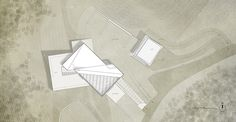 architecture floor plan with landscape and contour lines