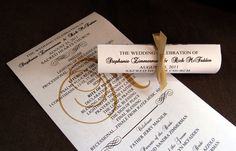 Mini Scroll Wedding Programs. $0.55, via Etsy.